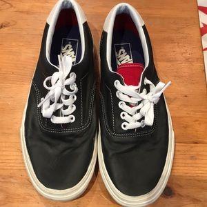 Almost new Vans Black Leather 8.5 men/ 10 Women